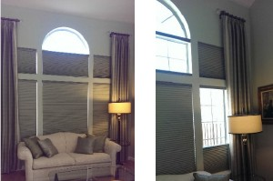 multi-layered mini blinds, window interior design