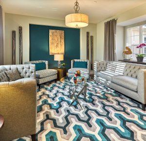 San Ramon interior design - teal and gray living room